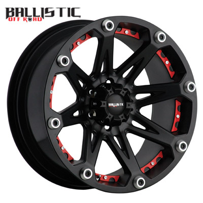 Ballistic Off Road 814 Jester Flat Black w/Red Inserts