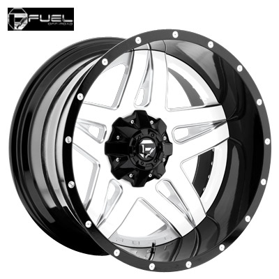 Fuel Off Road D255 2pc Full Blown White Milled w/Blk Lip