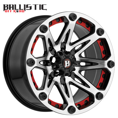 Ballistic Off Road 814 Jester Machined w/Flat Black w/Red Inserts