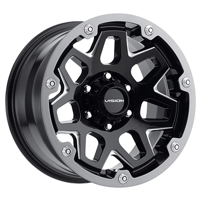 Vision Off Road 416 Se7en Gloss Black Milled w/Grey Ring
