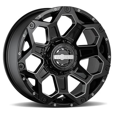 Worx 812 Clash Gloss Black w/MIlled 5-6 Lug
