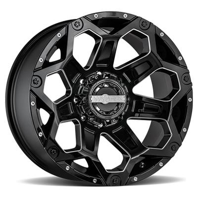 Worx 812 Clash Gloss Black w/MIlled 8-Lug