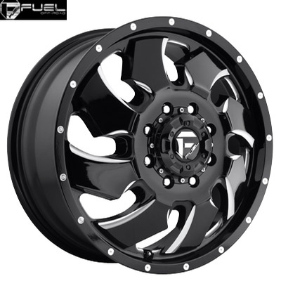 Fuel Off Road D574 Cleaver Dually Front Gloss Blk Milled