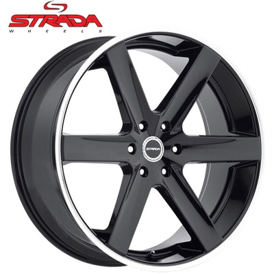 Strada Wheels Fucile Gloss Blk Machined Stripe