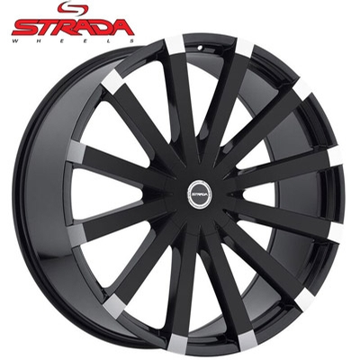 Strada Wheels Gabbia Gloss Black w/Machined Tips