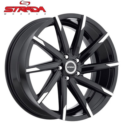 Strada Wheels Sega Gloss Blk Machined Tips