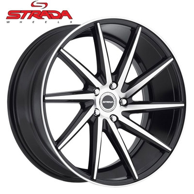 Strada Wheels Sega Machined Gloss Blk w/Stripe